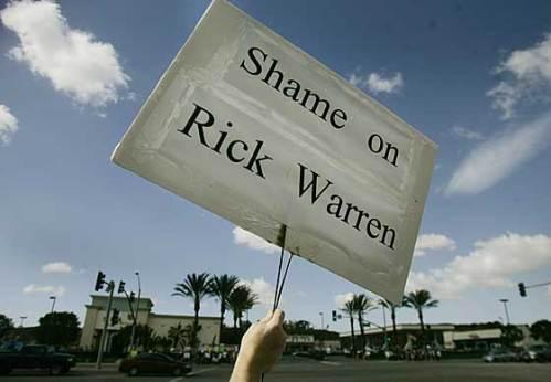 shame on rick warren