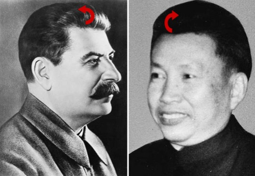 Stalin and Pol Pot both wore their hair combed back and both were murderers.